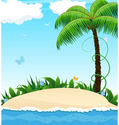 Small island with a palm tree vector