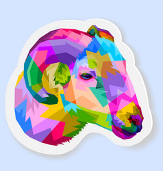 Sticker colorful sheep on pop art style vector