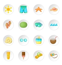 Summer items icons set vector