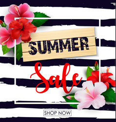 summer sale background with tropical flowers vector image