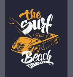 summer surf print with car and lettering vector image