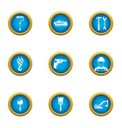 supply of materials icons set flat style vector image