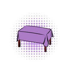 Table with tablecloth comics icon vector