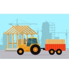 Tractor construction process of building house vector