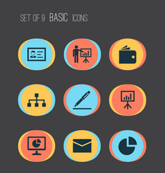 trade icons set with contract signing analytics vector image