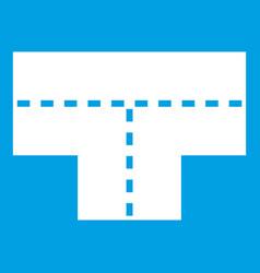 Tshaped crossroad icon white vector