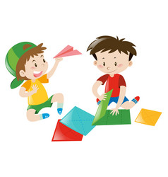 Two boys folding paper airplane vector