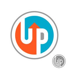 Up word logo with arrow round symbol with vector