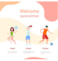 various kinds sport information board female male vector image
