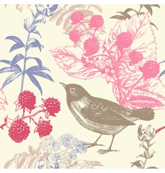 Vintage Birds Berries Pattern Background vector image vector image