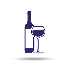 wine bottle with wineglass icon in dark blue vector image
