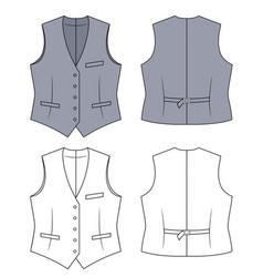 woman grey waistcoat vector image vector image