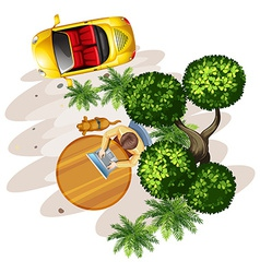 A topview of a table with a man a tree and a vector image