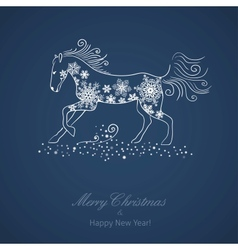 Christmas and New Year card with a horse vector image