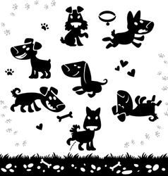 Collection of cartoon dogs silhouette vector image vector image