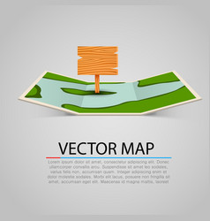 paper map sign with wooden pointer vector image vector image