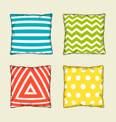 set of multicolored decorative pillows sketch vector image vector image