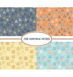 Set of seamless abstract geometric colorful vector image