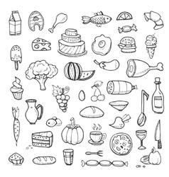 Vegetables drinks snacks fast food doodle vector image