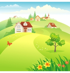Village on the hills vector image