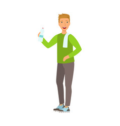 young man holding bottle of water dressed in vector image vector image