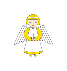angel character praying with a candle vector image