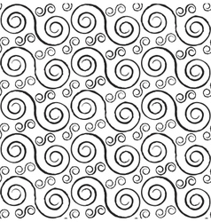 Black and white styled spirals seamless pattern vector image vector image