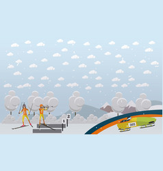 bobsleigh biathlon concept in vector image