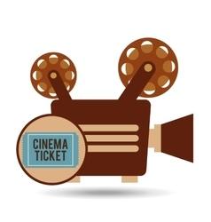 camera movie vintage ticket icon design vector image