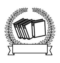 Crown of leaves with multiple book and label vector