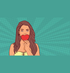 cute girl closing mouth with red heart love symbol vector image vector image