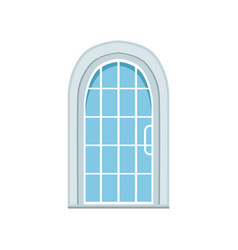 glass paned arched front door closed elegant vector image