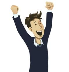 happy guy cheering vector image vector image