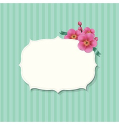 Vintage Label With Sakura Flowers vector image