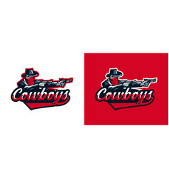 a set of logos of a cowboy shooting from a vector image vector image
