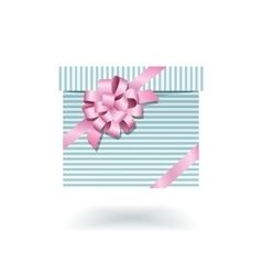 Blue striped gift box with pink bow vector image