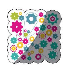 colorful gears symbols icon vector image