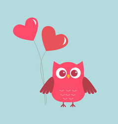 cute owl with pink hearts-ballons vector image