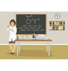 female teacher giving lecture in chemistry class vector image vector image