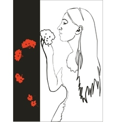 Girl with flower in black 03 vector image