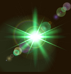 green start with glow dots background vector image vector image
