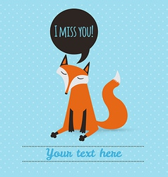 greeting card with cute fox holiday backdrop vector image vector image