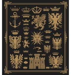 Mega pack of Heraldic Elements with baroque frame vector image vector image