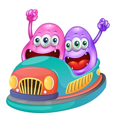 Monsters riding on a bumpcar vector image