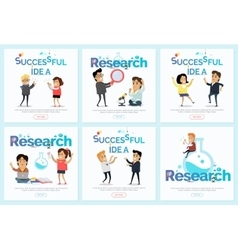 Successful Idea and Research Banners Set vector image vector image
