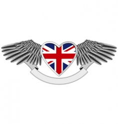union jack wings vector image vector image