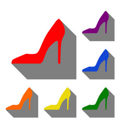 woman shoe sign set of red orange yellow green vector image