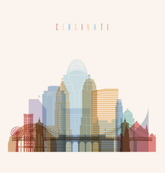Cincinnati state ohio skyline detailed silhouette vector