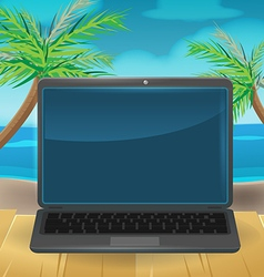 Computer Vacation Relax Beach vector image