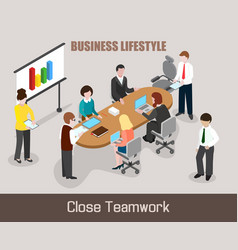 flat isometric business people vector image vector image